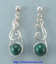 Swirly Malachite Bead Earrings