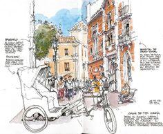 Luis Ruiz - Rickshaw, Málaga, (Urban Sketchers)