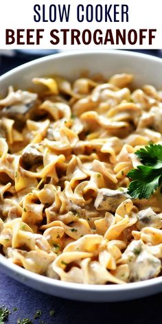 Slow Cooker Beef Stroganoff would make a great addition to your weeknight dinner rotation. It is a simple slow cooker recipe with amazing flavor! This comforting dinner is one the entire family will love! Crock Pot Recipes, Crockpot Dishes, Chicken Recipes, Slow Cooker Recipes Simple, Pasta Recipes Crockpot, Simple Easy Recipes, East Crockpot Meals, Crockpot Beef Recipes, Stewing Beef Recipes
