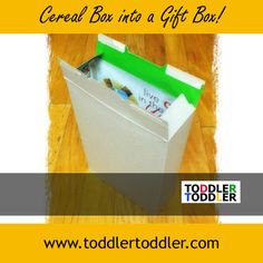 Toddler Activities: Decorate a Cereal Box into a Gift Box (www.toddlertoddler.com)