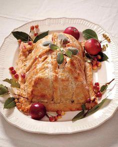 Tender, juicy pork loin is a crowd-pleaser on any table, particularly when its enrobed in pie dough that& golden, flaky, and sealed up like a holiday package. Wrap Recipes, Side Recipes, Apple Recipes, Pork Recipes, Apple Desserts, Fall Desserts, Fruit Recipes, Fall Recipes, Pork Wellington