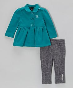 Take a look at this Teal Coat & Jeggings - Infant, Toddler & Girls by Calvin Klein Jeans on #zulily today!
