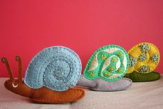 cute hand embroidered snails