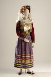 Bridal dress from Leukimi village of Corfu. © Museum of Greek Folk Art. Folk Costume, Costumes, Corfu Greece, Traditional Outfits, Museums, Bridal Dresses, Exploring, Folk Art, Brides