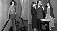 California Retrospective. In 1938, L.A. woman went to jail for wearing slacks in courtroom. Helen Hulick, a burglary witness, caused a stir in a downtown L.A. courtroom in 1938 by wearing slacks. At right, Hulick, wearing a jail-issued dress, her attorney William Katz and notary Jeanette Dennis work on getting her released. (Andrew H. Arnott / George Wallace / L.A. Times Archive/UCLA)