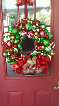 Wreath made from plastic Christmas ornaments