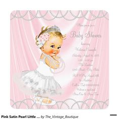 Pink Satin Pearl Little Lady Girl Baby Shower Invitation