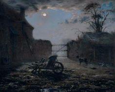 French Realism -  Barbizón School -1830-1870   -  Jean-François Millet (French 1814–1875) [Realism, Naturalism, Barbizon School]  Farmyard by moonlight (1868).