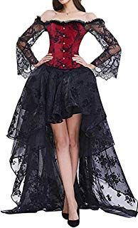 High Low Two Piece Corset Dress Solid Color Lace Party Dress Lace Up Prom Formal Vestidos Robe Vintage Ball Gown Dress Black XL Black Party Dresses, Girls Party Dress, Sexy Dresses, Short Dresses, Dress Black, Dress Red, Dress Party, Red Corset Dress, Black Gothic Dress