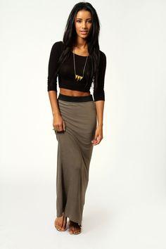 Helena Contrast Waistband Maxi Skirt