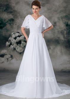 V-neck V-back Zipper Ruched A-line Short Sleeves Chiffon Sweep White Wedding Dresses