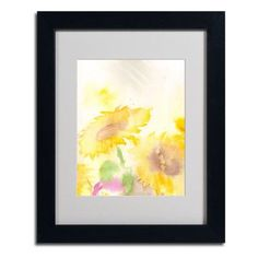 """Trademark Art """"Wind Sunflowers"""" by Sheila Golden Framed Painting Print Size:"""