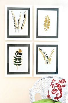 DIY Gilded Leaves Add Serious Glam To Your Walls! --> http://www.hgtvgardens.com/crafts/bringing-the-outside-in-how-to-gild-and-frame-botanicals?soc=pinterest