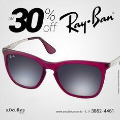 Óculos de Sol Ray Ban com Até 30% de desconto.  Compre em Até 10x Sem Juros e frete grátis nas compras Acima de R$400,00  Acesse: www.aoculista.com.br/ray-ban  #rayban #glasses #oculos #eyeglasses #sunglasses