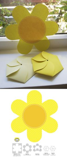 Fold-able Flower Card- Mother's Day Idea Kids Crafts, Diy And Crafts, Arts And Crafts, Diy Paper, Paper Crafts, Tissue Paper, Daisy Scouts, Folded Cards, Diy Cards