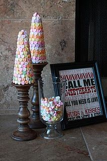 """DIY conversation heart trees. I am wondering if you could do a variation onto ice cream cones for the base, and """"glue"""" with royal icing so kids could eat them. Valentine parties at school?"""