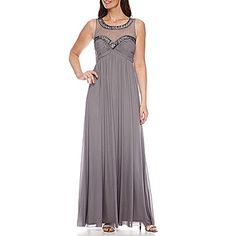 jcp   One by Eight Sleeveless Beaded Illusion Gown