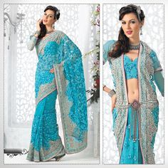 Adorable Teal Blue Embroidered Saree