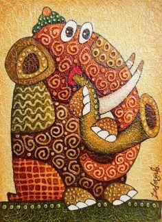 Картины (живопись) : Слоник музыкант
