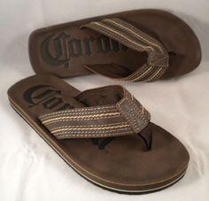 Corona Mens Beer Drink Brown Sandals Flip Flops Size Medium 9 Beach Summer  #Modelo #FlipFlops