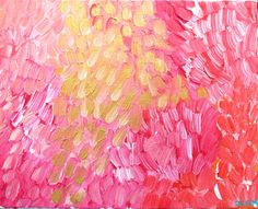 Jennifer Latimer painting: Banff Garden Poppies and Roses Painting - Pinks, Gold and Coral Abstract on Canvas. $129.00, via Etsy.