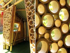 giant grass bamboo cubby house - detail of the circular bamboo screen