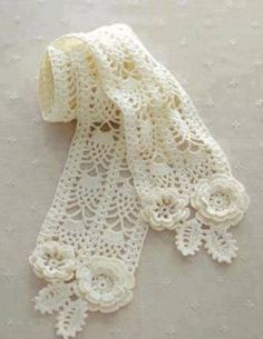 irish crochet lace scarf pattern by LibraryPatterns Crochet Scarf Diagram, Cardigan Au Crochet, Irish Crochet Patterns, Crochet Motifs, Thread Crochet, Crochet Stitches, Lace Scarf, Crochet Shawls And Wraps, Crochet Scarves