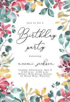 Aquarelle Floral Frame - Birthday Invitation #invitations #printable #diy #template #birthday #party Free Baby Shower Invitations, Free Birthday Invitations, Wedding Invitations, Baby Cards, Printable, Island, Frame, Floral, Party