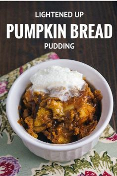 Healthy Recipes : Lightened Up Pumpkin Bread Pudding - Slender Kitchen - Healthy Bread Pudding With Croissants, Chocolate Bread Pudding, Croissant Bread, Cake Chocolate, Pumpkin Recipes, Fall Recipes, Holiday Recipes, Pumpkin Bread, Pumpkin Chili