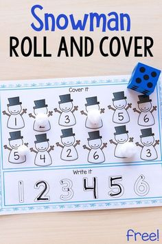 These snowman roll and cover mats make learning number sense and letter sounds fun and engaging for kids. These are perfect for winter centers or homeschool! Preschool Lessons, Kindergarten Math, Fun Math, Preschool Activities, Kids Math, Number Activities, Counting Activities, Elementary Math, Math Lessons