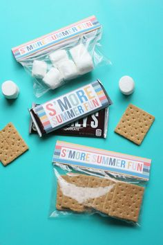 Easy Smores Kit with Free Printables - The Crazy Craft Lady - Learn how to make a simple smores kit. With this set of free printables, it's easy to invite your family and friends over for a night of s'mores around the bonfire! Printable Activities For Kids, Free Printables, Summer Activities, Smores Kits, Painting Kitchen Countertops, Painting Laminate, Party Kit, Party Ideas, Camping Crafts