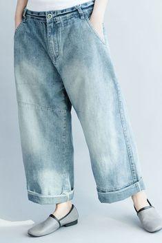 Blue Wide Leg Cowboy Pants Fashion Trousers