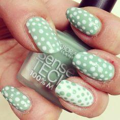 Turquoise & White polka dots nails, chek the tutorial on my blog here: http://giugizu.blogspot.it/2013/07/diy-turquoise-white-polka-dots-manicure.html