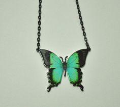 Butterfly Necklace Women Black Butterfly by DorisAnnCreations