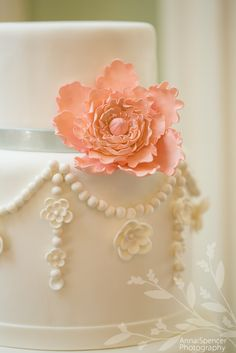 Hand rolled pearl dragee wedding cake with sugar peony by Baker's Man Inc. Bakery in Atlanta. Anna and Spencer Photography.