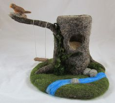 Tree Stump With Swing Needle Felted Play Mat by chimera on Etsy, $65.00