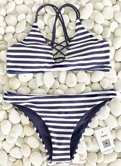 Surprise now-$23.99 Only! Hot summer break is waiting for you! All soft texture and comfy fit comes from Cupshe Draw A Parallel Stripe Bikini Set. You derserve this perfect swimsuit to shine in the beach party.