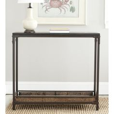 Safavieh Bedford Wicker Accent Wood Top Console Table - Overstock Shopping - Great Deals on Safavieh Coffee, Sofa & End Tables Living Room Seating, New Living Room, Dining Room, Home Interior Catalog, Sofa End Tables, Console Tables, Wooden Tops, Black Furniture, Rustic Table