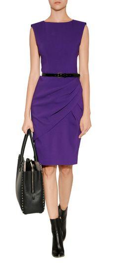 Classicly cut Wool Drape Pleat Dress by Michael Kors.  Found on www.style.bop.com. #dress #MichaelKors