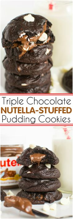 Triple Chocolate Nutella Stuffed Pudding Cookies | A baJillian Recipes