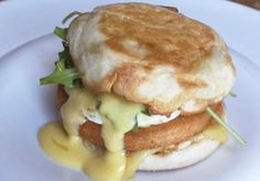 Thomas'® Original English Muffin Sandwich with Bratwurst-Spiced Pork, Over-Medium Egg, Farmstead Cheese, Beer Hollandaise, Pickled Peppers and Arugula by Chef Thomas Hauck from Milwaukee, WI