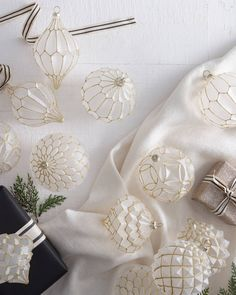 Create a charming winter display with our collection of Christmas bauble sets. Shop elegant Christmas decorations and more on Balsam Hill today. Rose Gold Christmas Decorations, Elegant Christmas Decor, Christmas Ornament Sets, Christmas Tree Ornaments, Realistic Christmas Trees, White Baubles, Pearl Anniversary, Christmas Tree Inspiration, Christmas Ideas