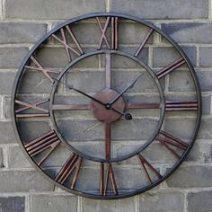 Vintage Industrial Style Black Iron 40cm Wall Clock Classic French Vintage Style