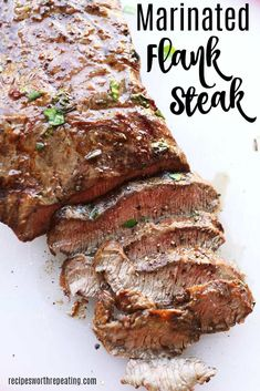 A melt in your mouth flank steak recipe that can be either grilled or cooked in the oven. A simple marinade made with soy sauce, red wine vinegar, and garlic puts the flavor over the top! Perfect for any weeknight dinner or cookout! Skirt Steak Recipes, Flank Steak Recipes, Easy Steak Recipes, Grilling Recipes, Meat Recipes, Cooking Recipes, Water Recipes, Recipes Dinner, Chicken Recipes