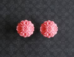"""SALE - Bright Pink Rose Floral Plugs - 1/2"""" Clear Double Flare - Ready to ship at ryarr.com"""
