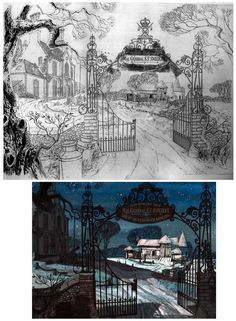 Disney - 101 Dalmatians, love the detail and line quality! #background_art #concept #animation