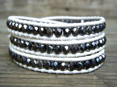 Beaded Leather Wrap Bracelet 3 or 4 Wrap with Hematite Dark Gray Beads on White Leather by BetsyGraceJewelry
