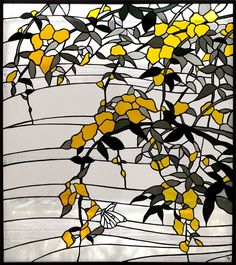 Like the hanging blooms idea, but would prefer a color other than yellow for the blossoms Stained Glass Door, Stained Glass Flowers, Stained Glass Crafts, Stained Glass Designs, Stained Glass Panels, Stained Glass Patterns, Leaded Glass, Mosaic Glass, L'art Du Vitrail