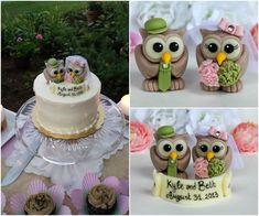 Owl custom wedding cake topper hydrangea wedding by PerlillaPets