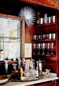 Bryan Batt's bar in his antique armoire